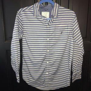 Nautica button front blue & white striped shirt